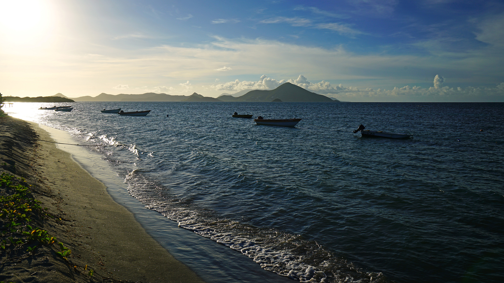 побережье, море, вечер, лодки, newcastle bay, nevis, природа