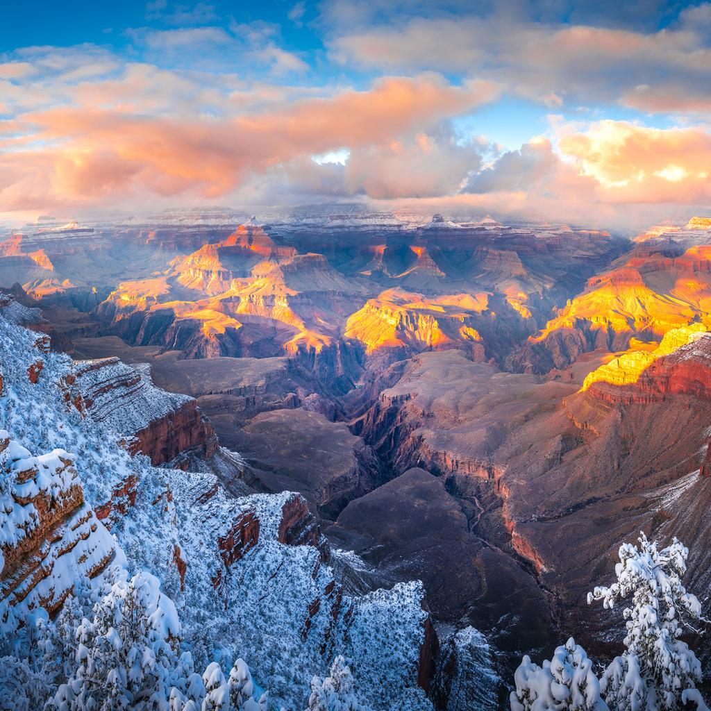 гранд-каньон, arizona, скала, снег, облака, каньон, природа
