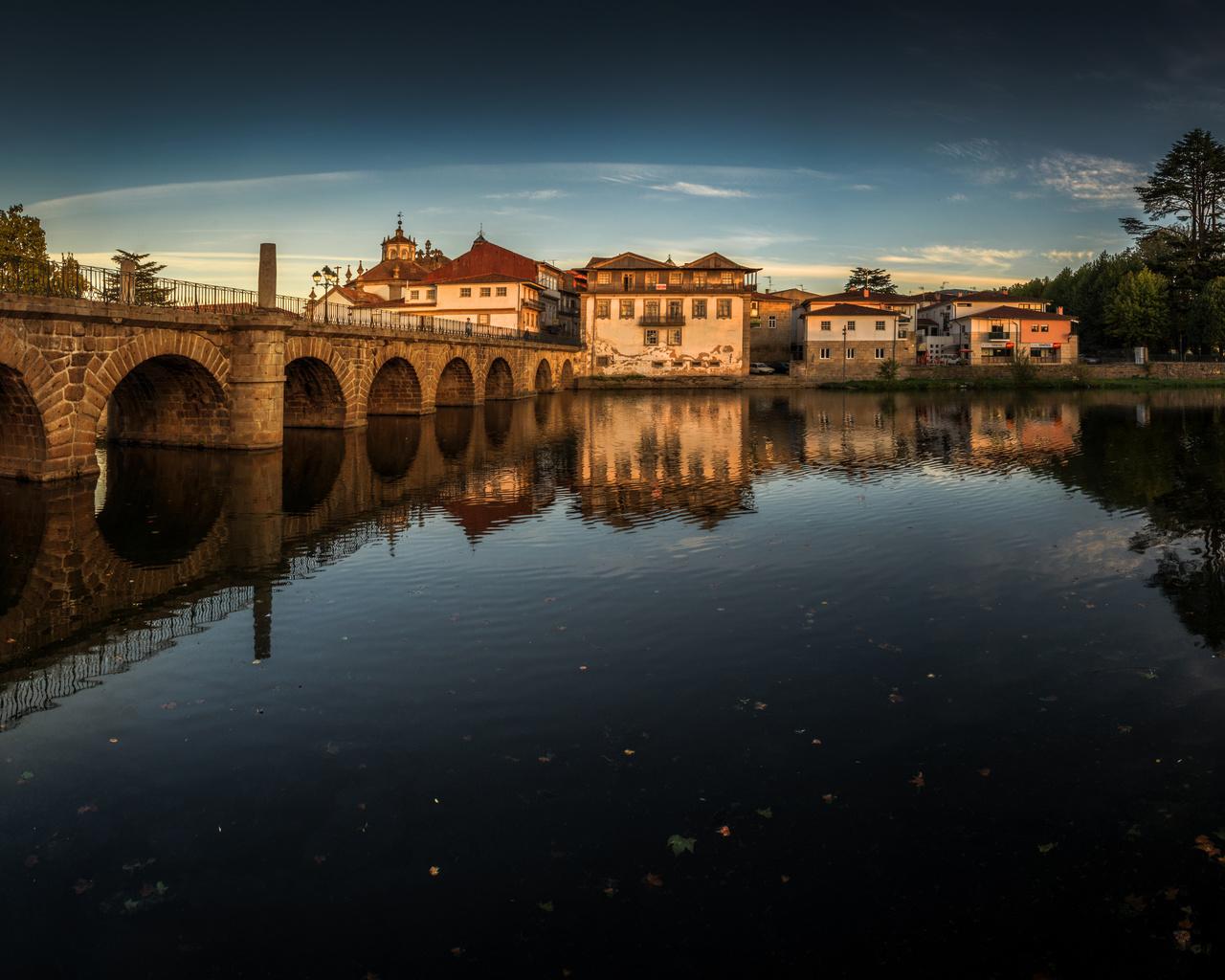 широкоформатные, португалия, река, мост, дома, панорама