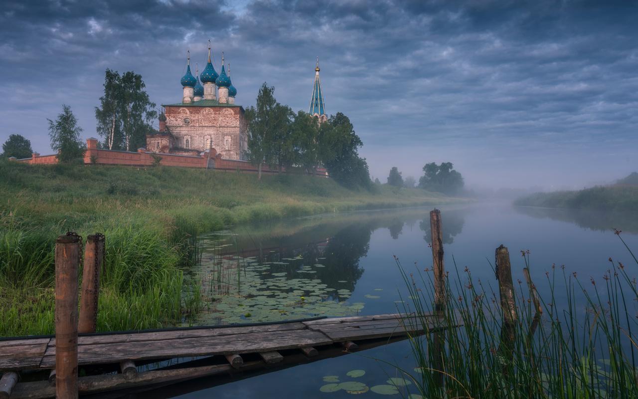 церковь, россия, dunilovo, shuisky, district, ivanovo, region, туман, трава, природа