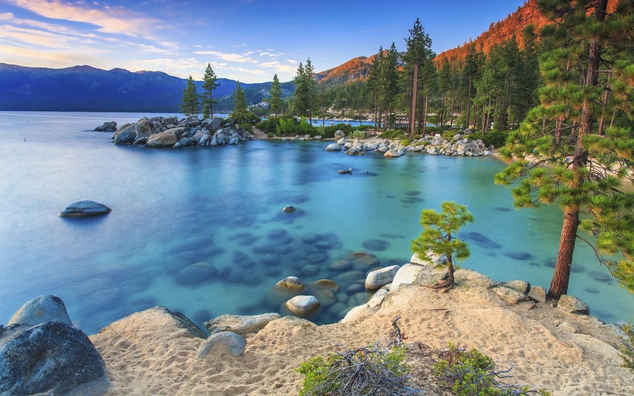 озеро, камни, лес, sierra nevada, природа