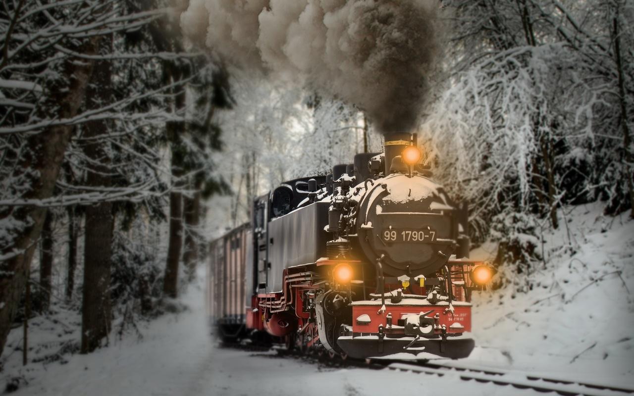 поезд, зима