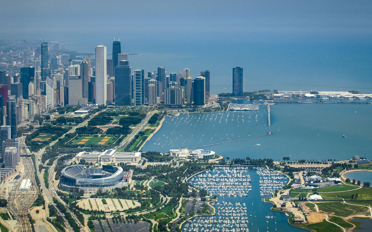 побережье, дома, небоскребы, adler, planetarium, shedd aquarium, field, museum, Чикаго, город, сверху