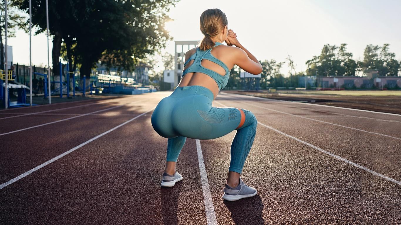 фитнес, поза, тренировка, попа, приседает, девушка, спорт