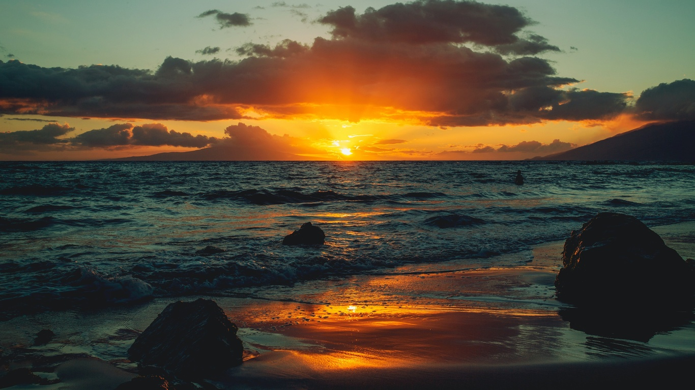 берег, океан, закат, волны