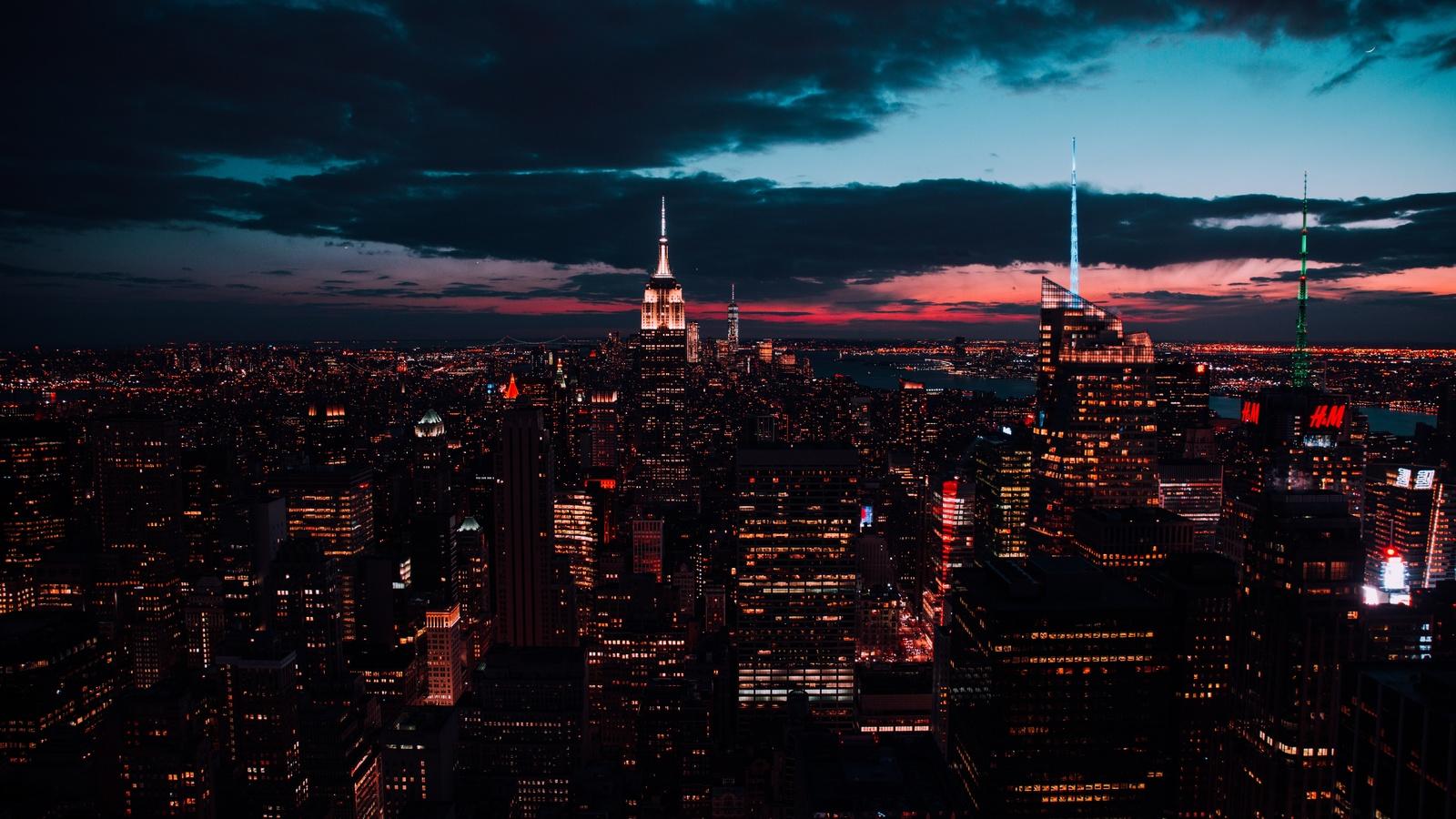 вечер, тучи, небоскрёбы, город