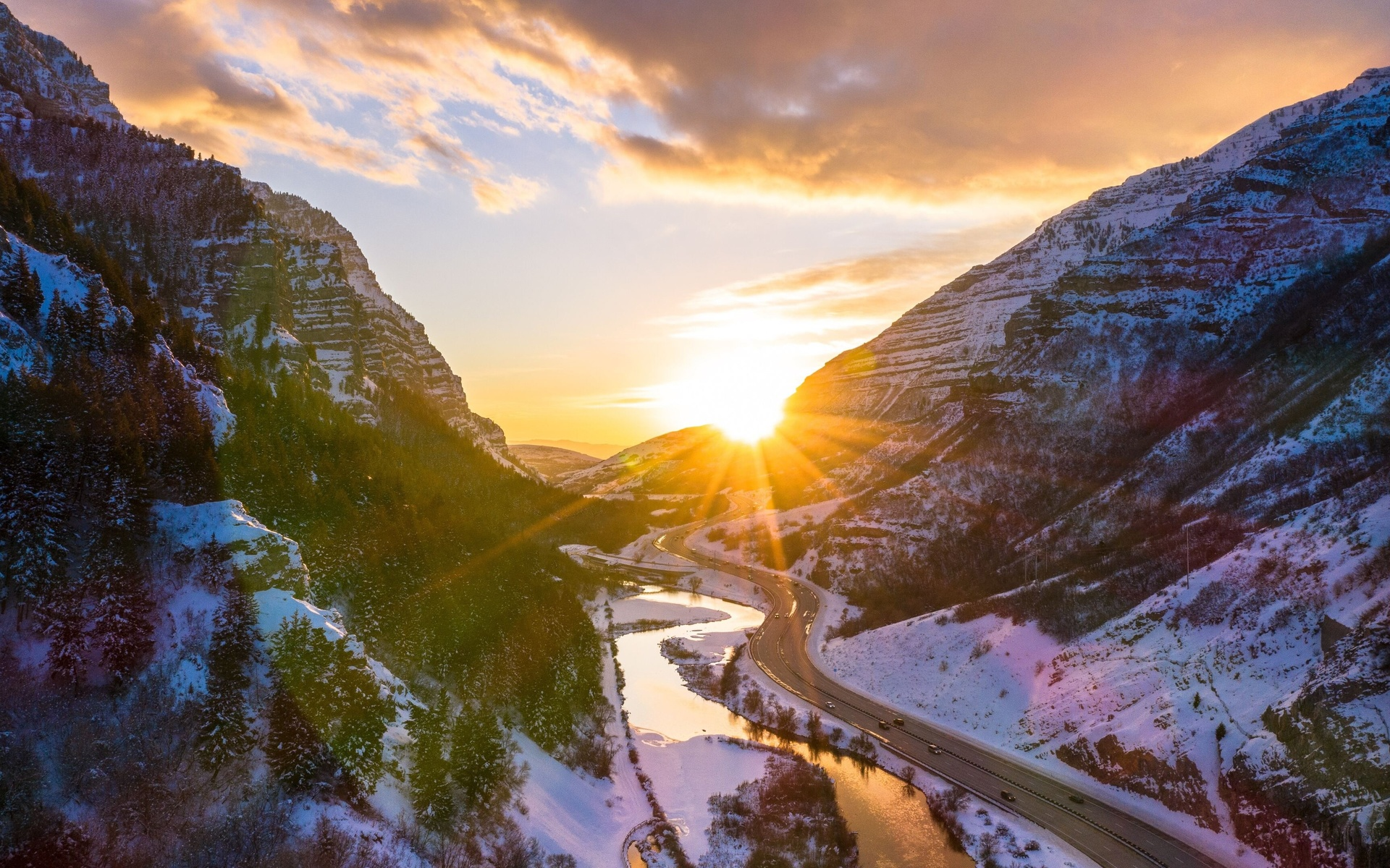 каньон, скала, солнце