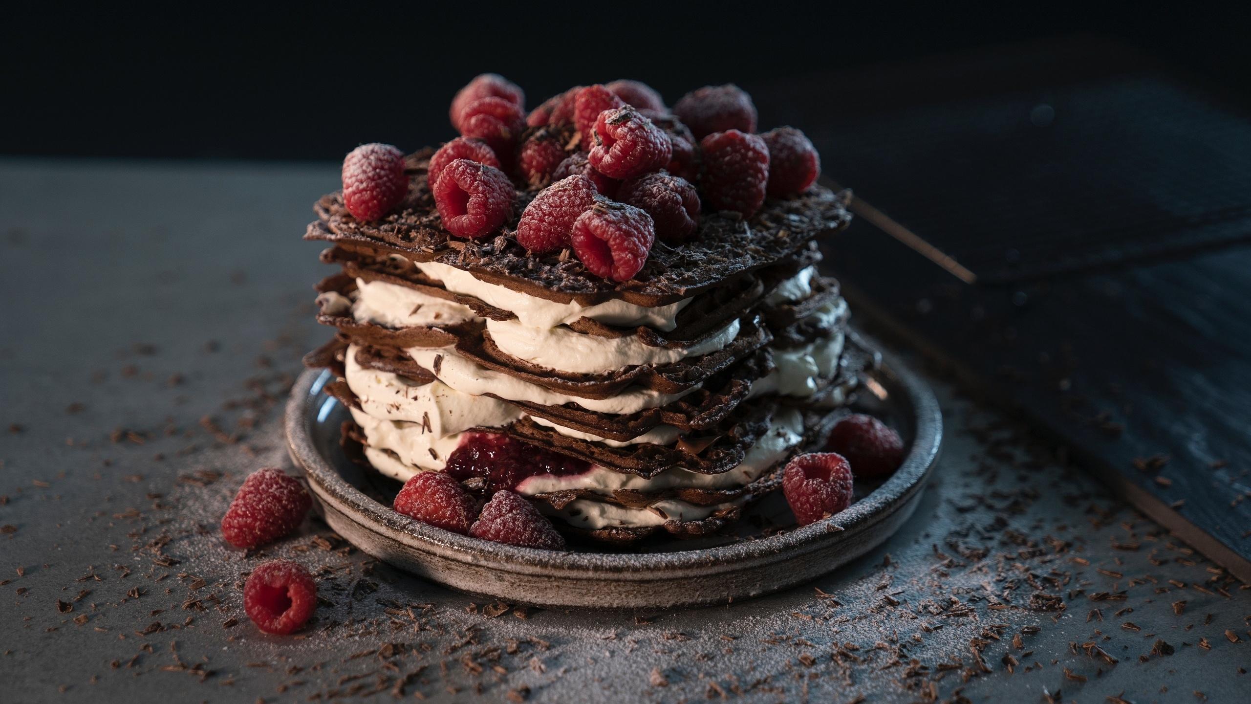 торт, пирог, ягоды, малина