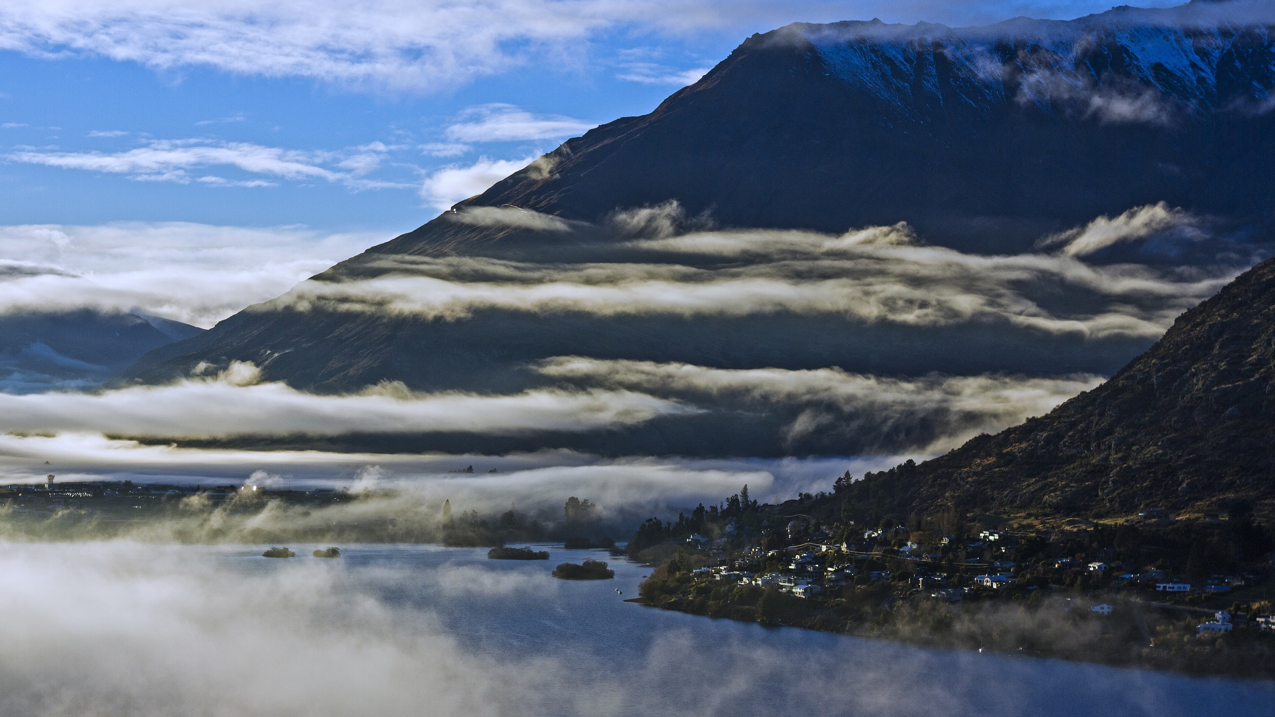 пейзаж, горы, туман, утром, природа