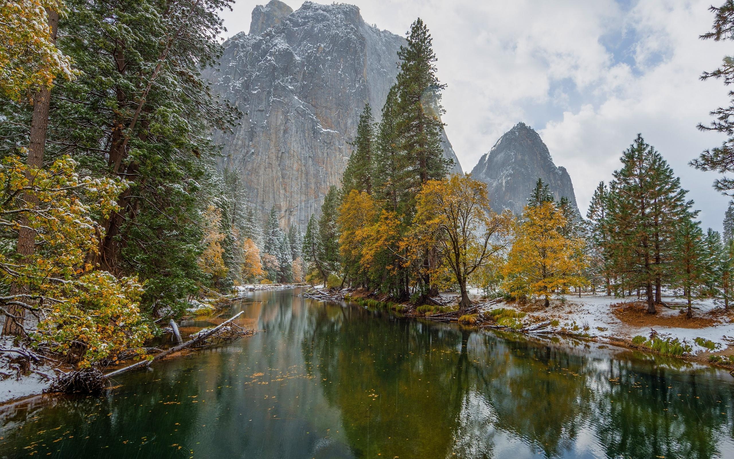 осень, горы, йосемити, деревья, снег, калифорния, природа