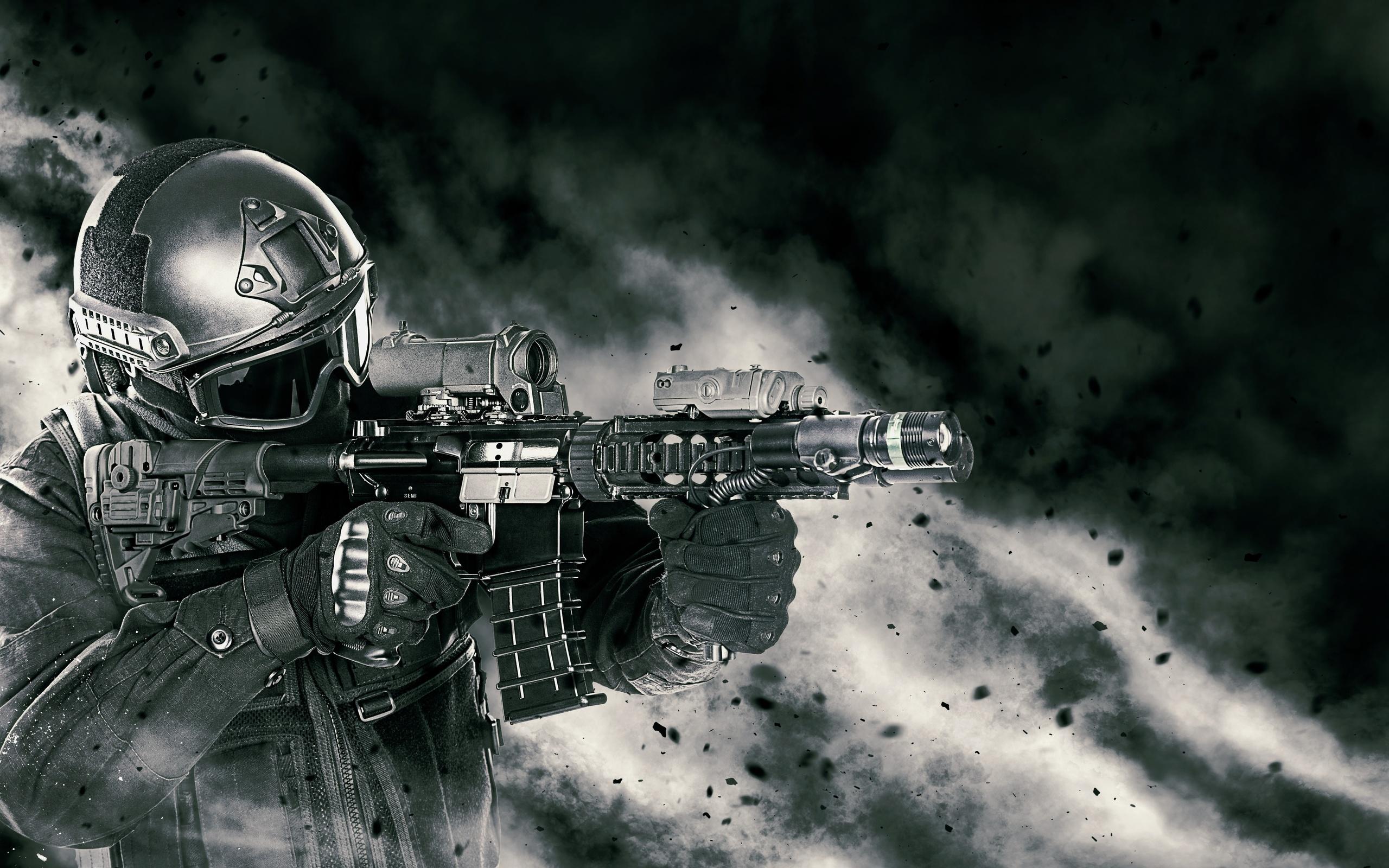 воин, спецназ, оружие, бой