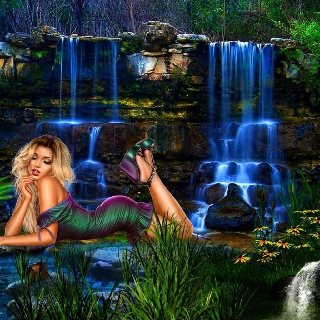 супер, водопад, вода, девушка, секси, лежит, яркая, природа