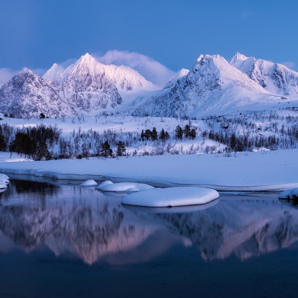 норвегия, горы, зима, пейзаж, снег
