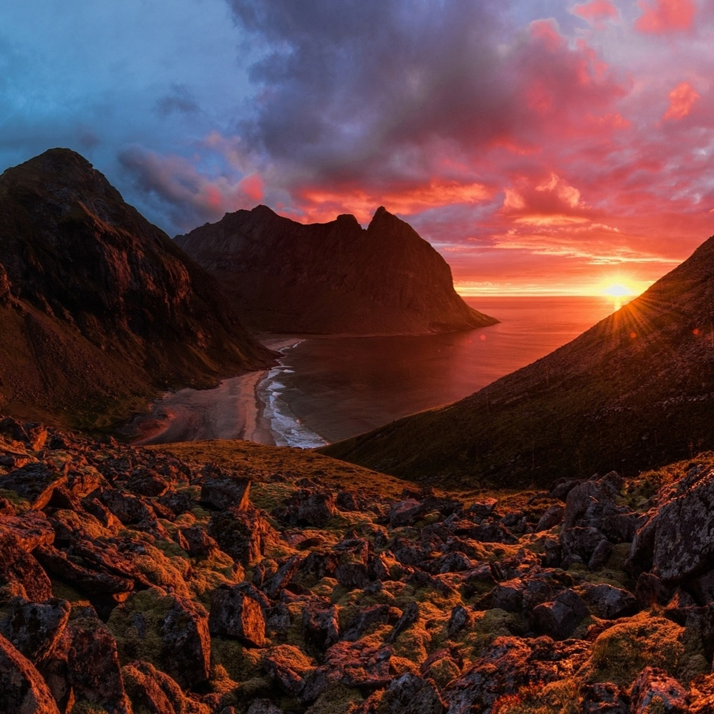 landscape, nature, mountains, sea, night, sunset