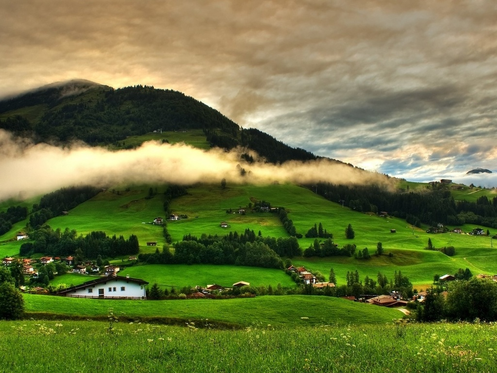 landscape, nature, mountains, hills, village, clouds