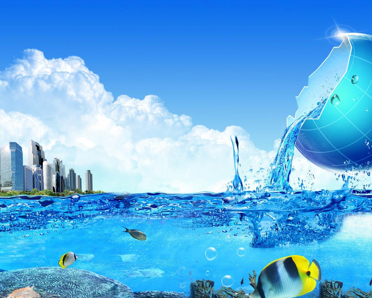 океан, остров, дома, рыбка