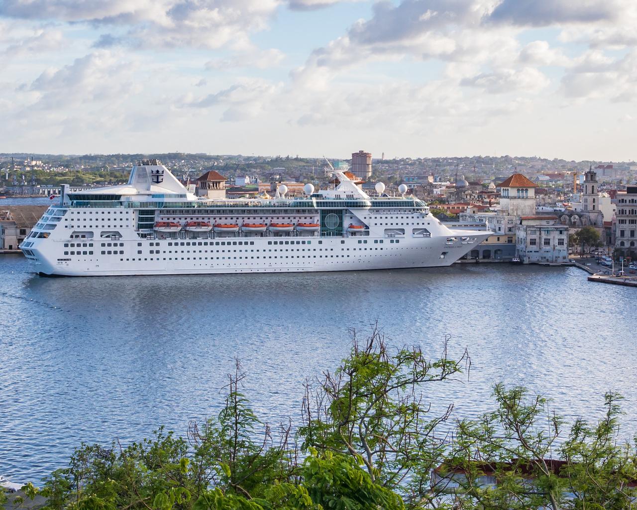 широкоформатные, куба, причал, корабли, круизный, лайнер, дома, панорама, havana, город