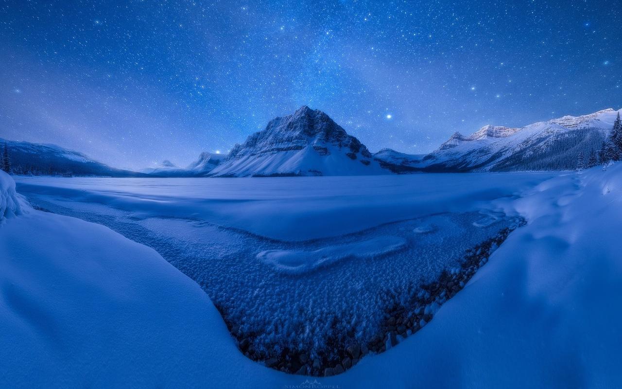 зима, ночь, звезды, горы, озеро, снег