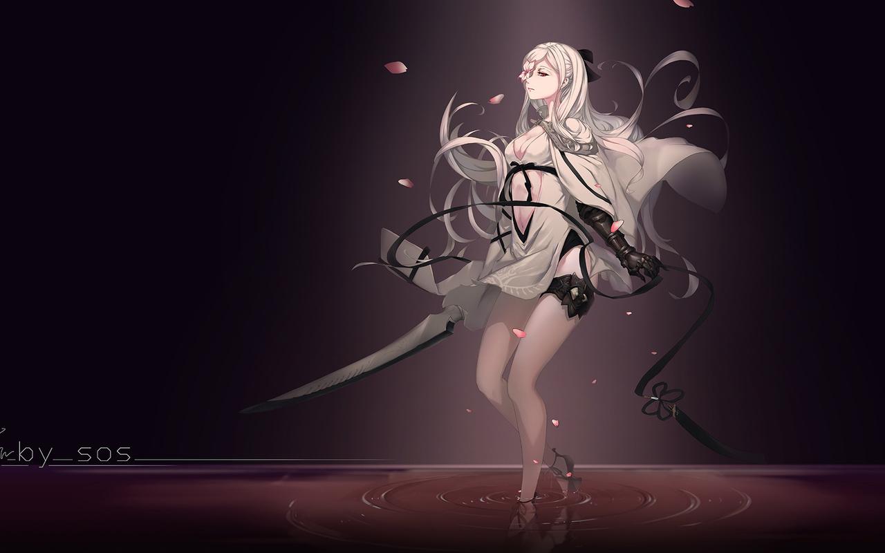anime, girl, blonde, sword