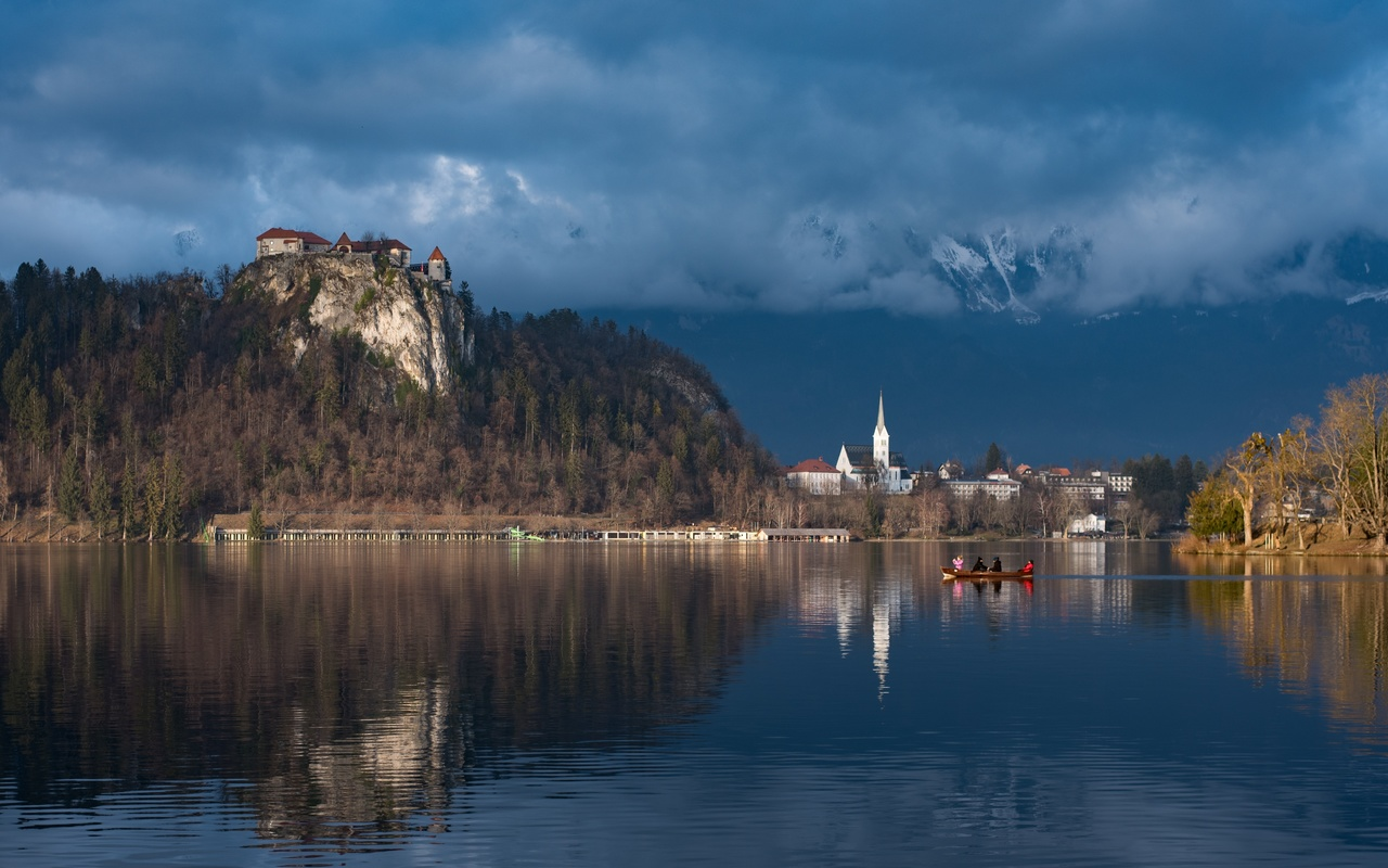 словения, озеро, лодки, bled, castle, природа