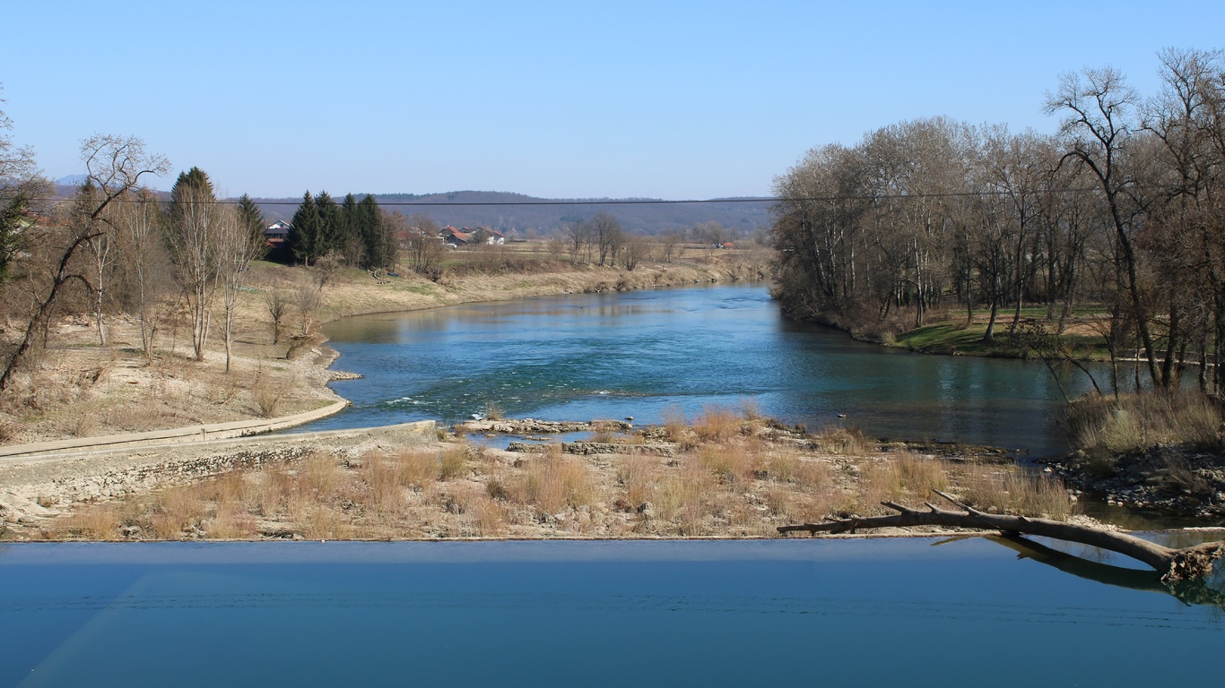 река, деревья, весна