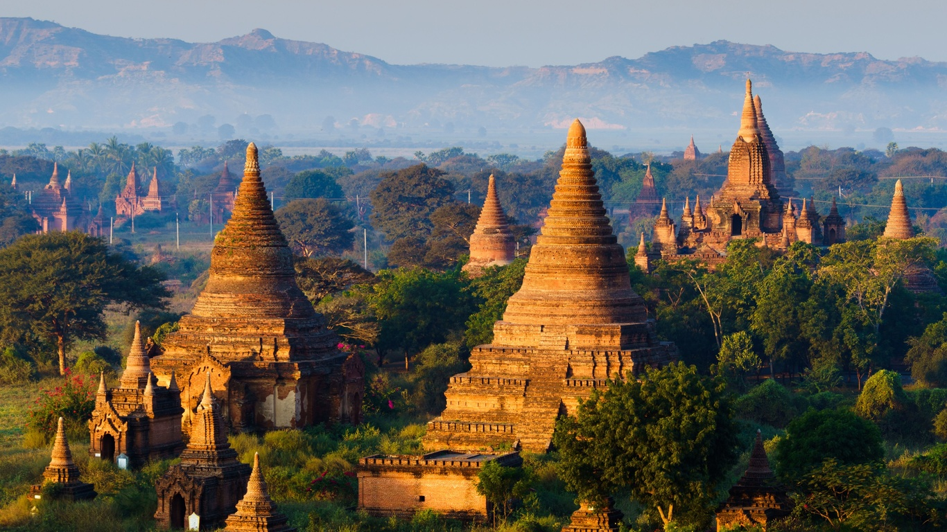 храм, bagan, myanmar, туман, деревья, город