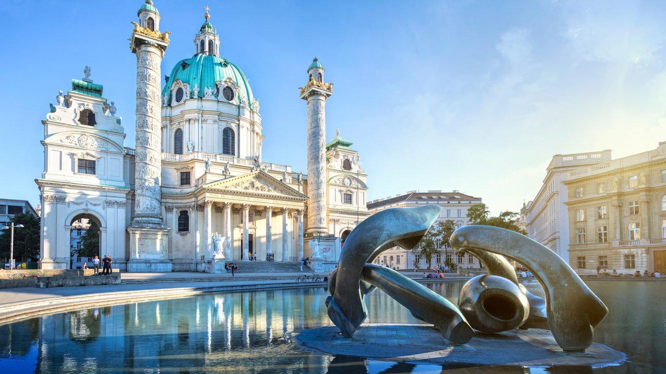 вена, австрия, церковь, скульптуры, karlskirche, город