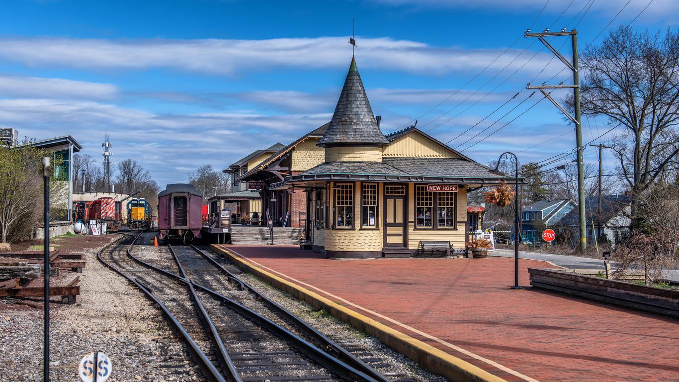 железные дороги, new hope station, пенсильвания, рельсы, город