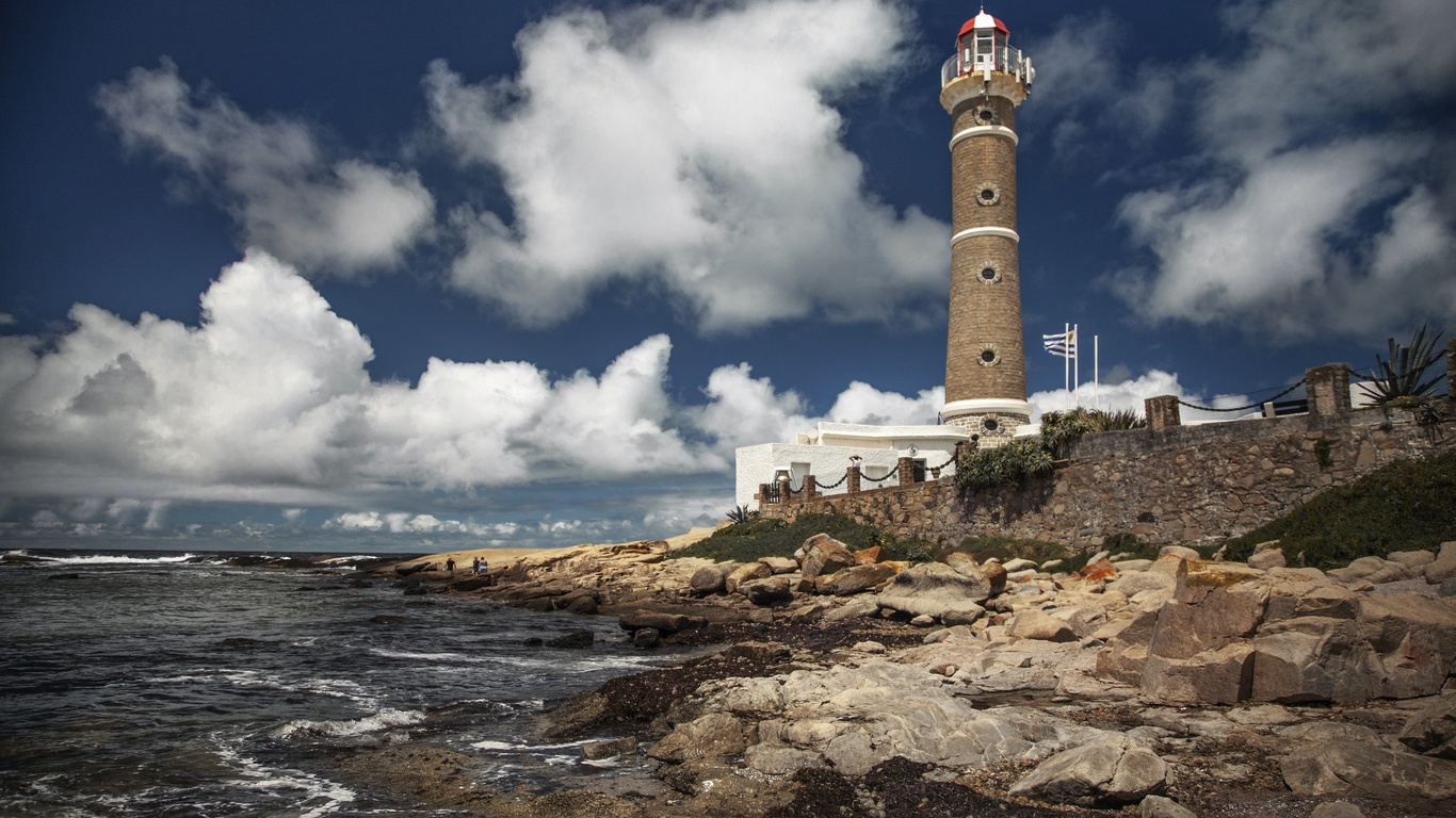 маяк, небо, море