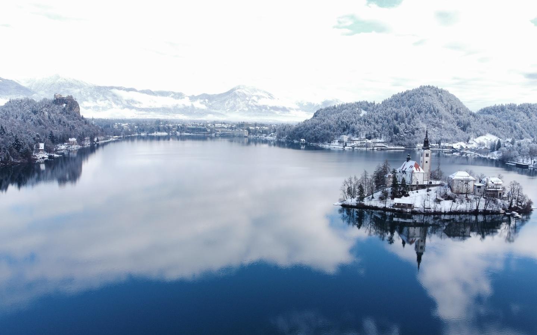 блед, озеро, панорама, зима