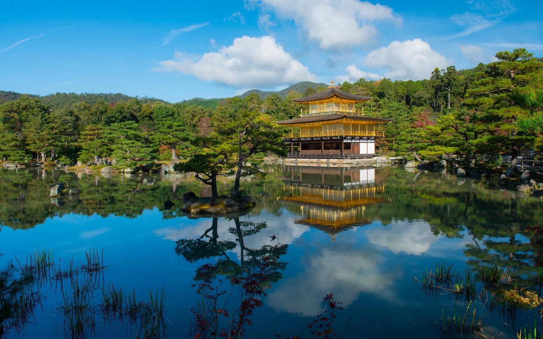 Япония, храмы, пруд, киото, kinkaku-ji, rokuon-ji, kita, деревья, города
