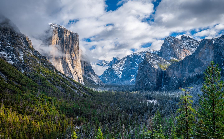 пейзаж, калифорния, йосемити, облака, скала, природа