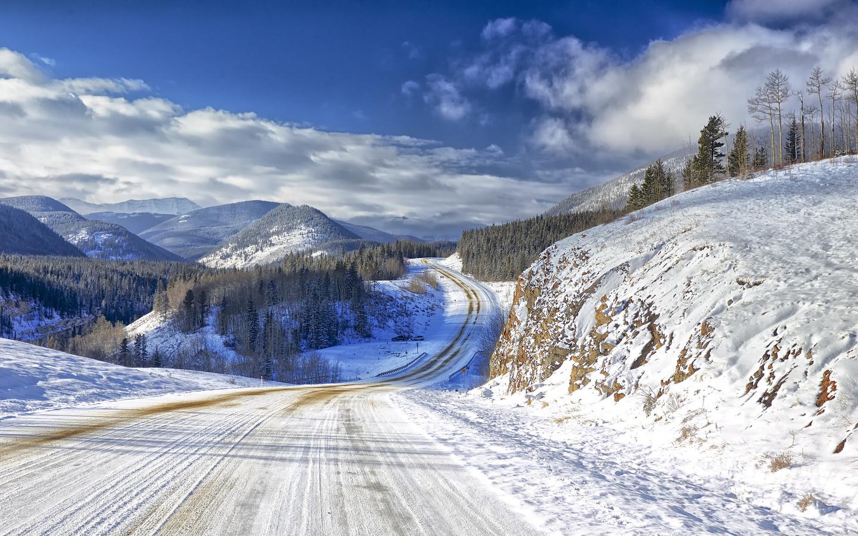 горы, дорога, снег