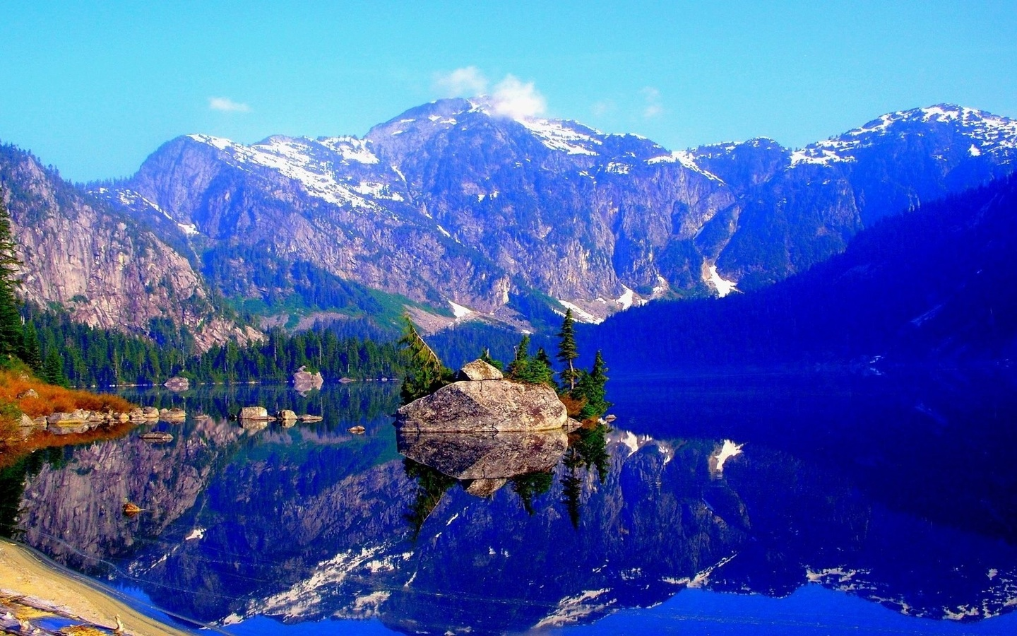 landscape, nature, mountains, lake, island