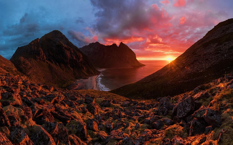 landscape, nature, mountains, sea, night, sunset