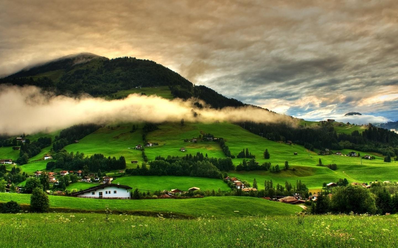 landscape, nature, mountains, hills, village, clouds