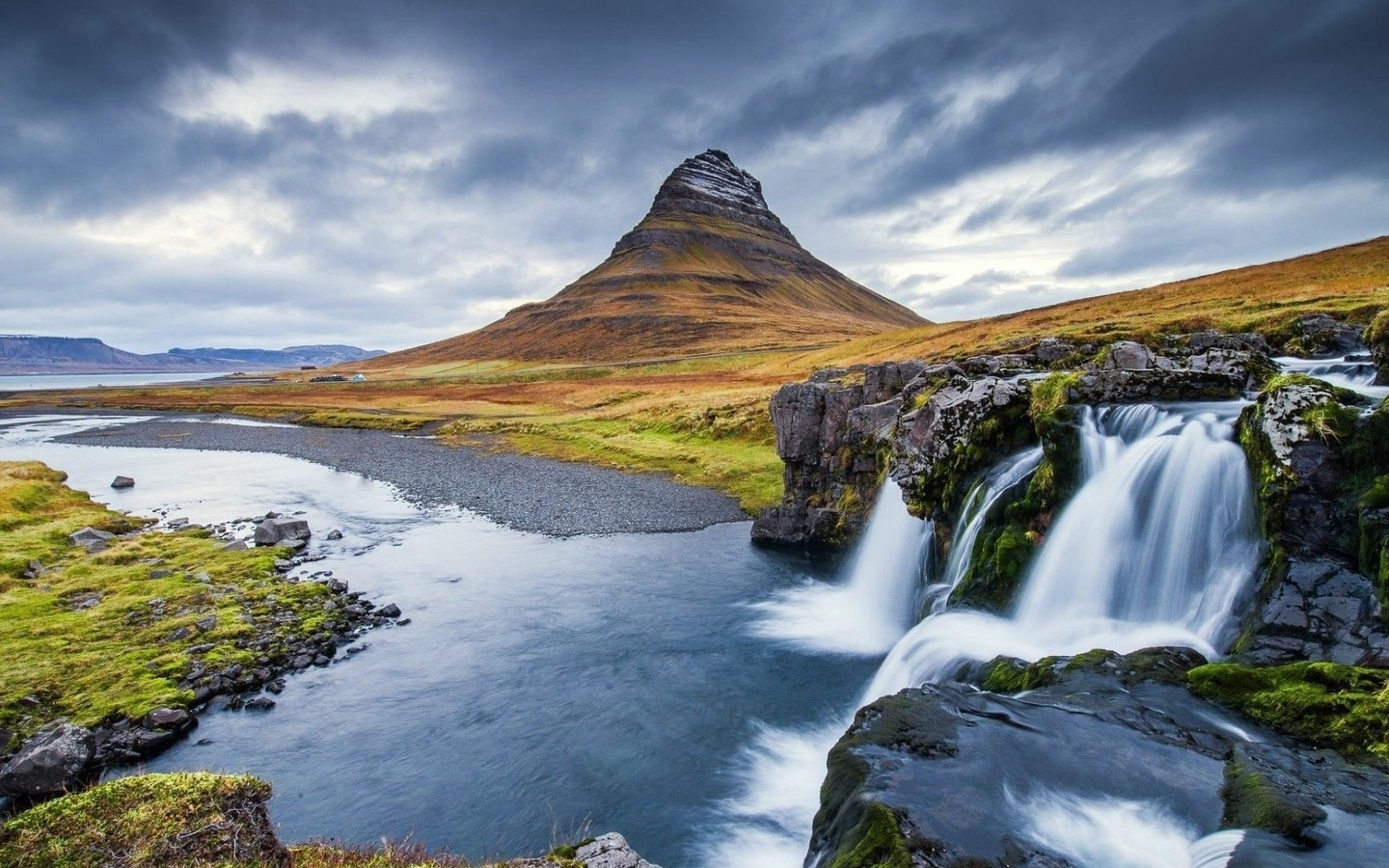 landscape, nature, mountains, river, waterfall