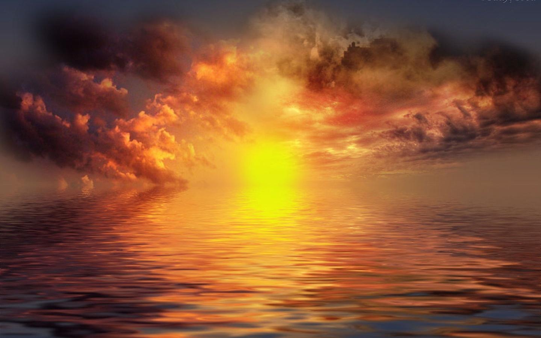 море, солнце, закат