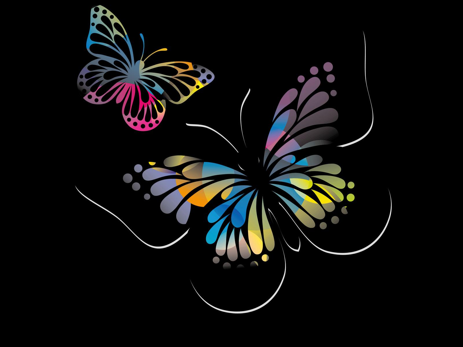 бабочки, черный, фон