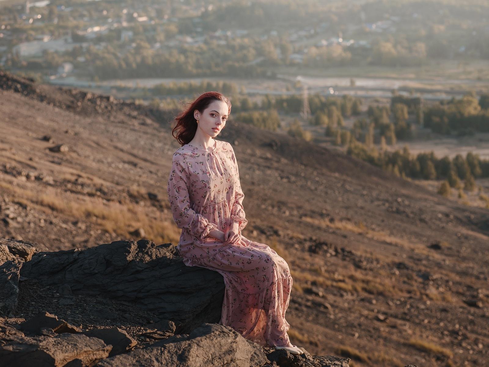 девушка, горы, высота, посёлок