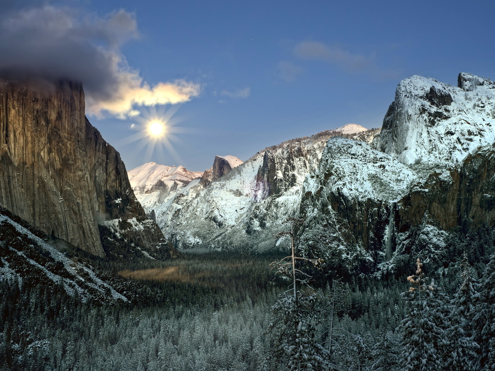 небо, облака, солнце, горы, лес, снег