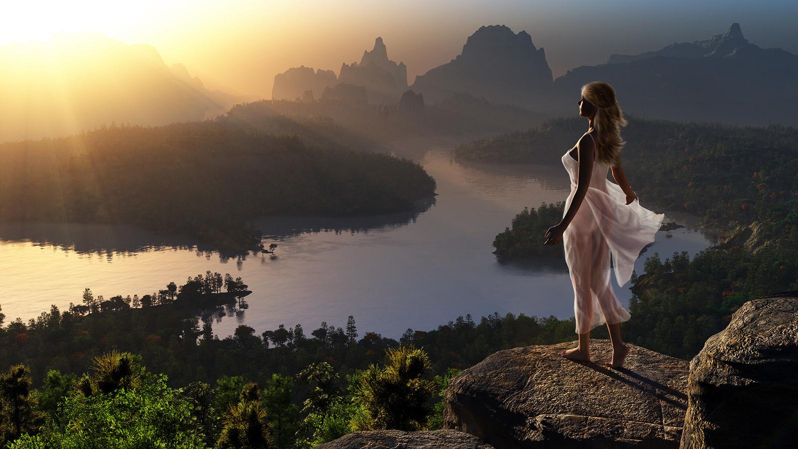 пейзаж, горы, река, девушка, 3, д