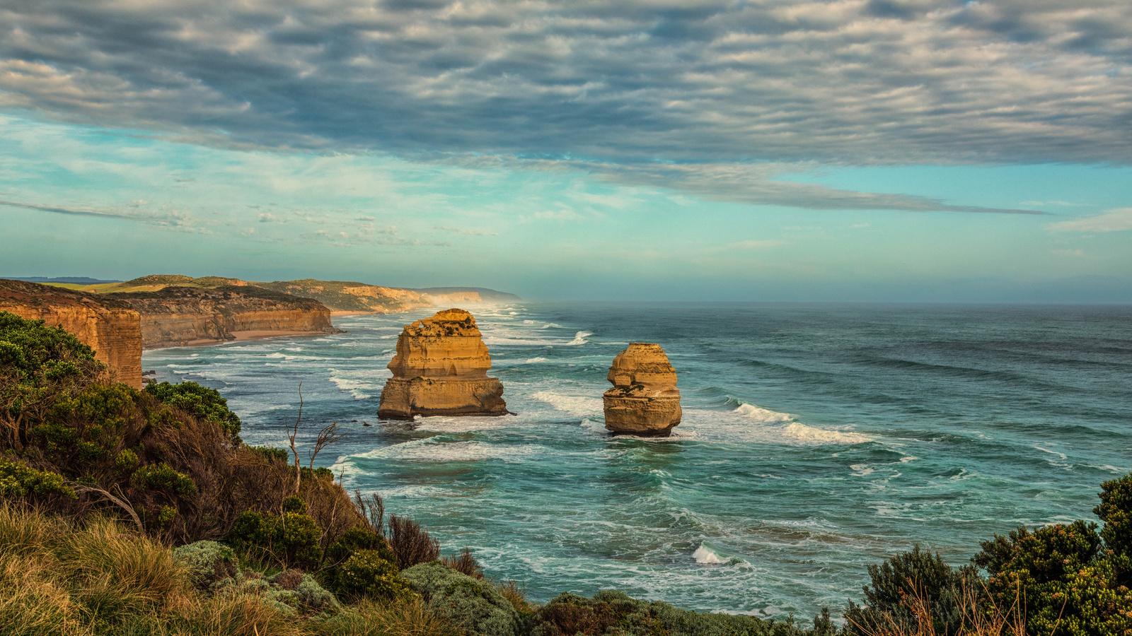 австралия, побережье, princetown, скала, облака, природа