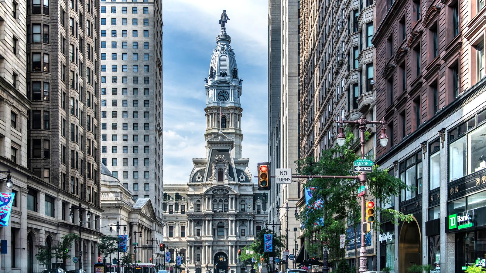 дома, philadelphia, улица, башня, город