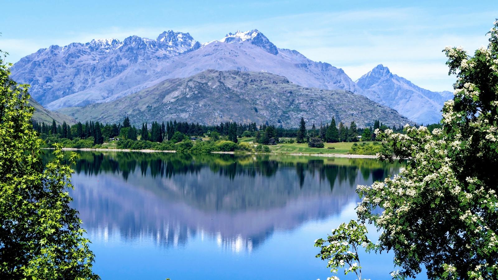 горы, озеро, новая зеландия