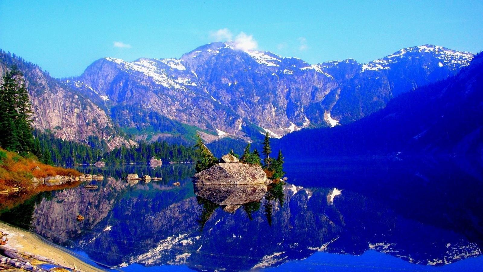 landscape, nature, mountains, lake, island