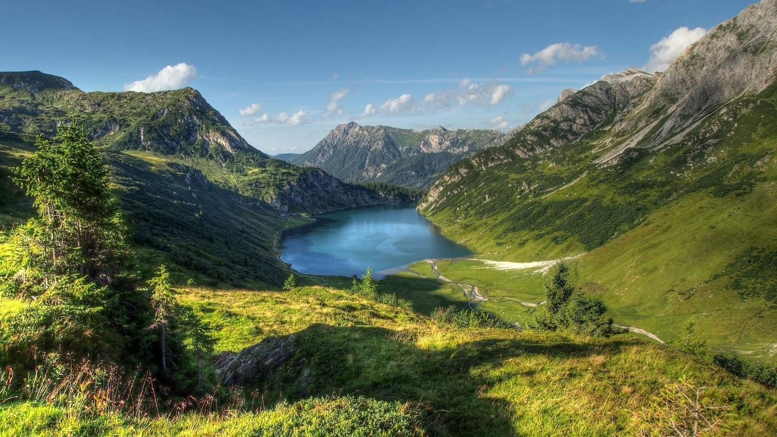 landscape, nature, mountains, lake, sky, clouds