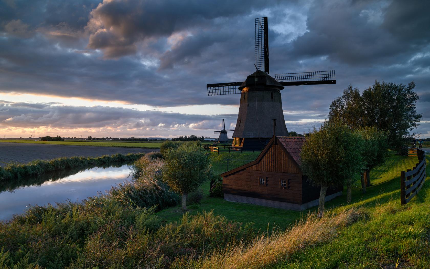 нидерланды, дома, река, вечер, schermerhorn, мельница, деревья, природа