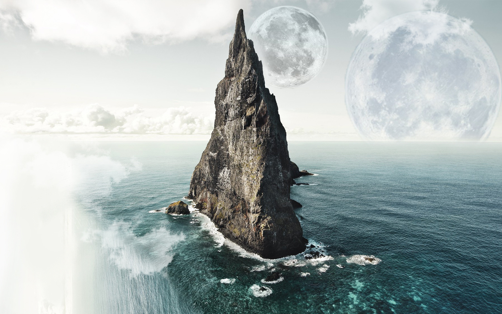 море, луна, скала, облака, небо, вода