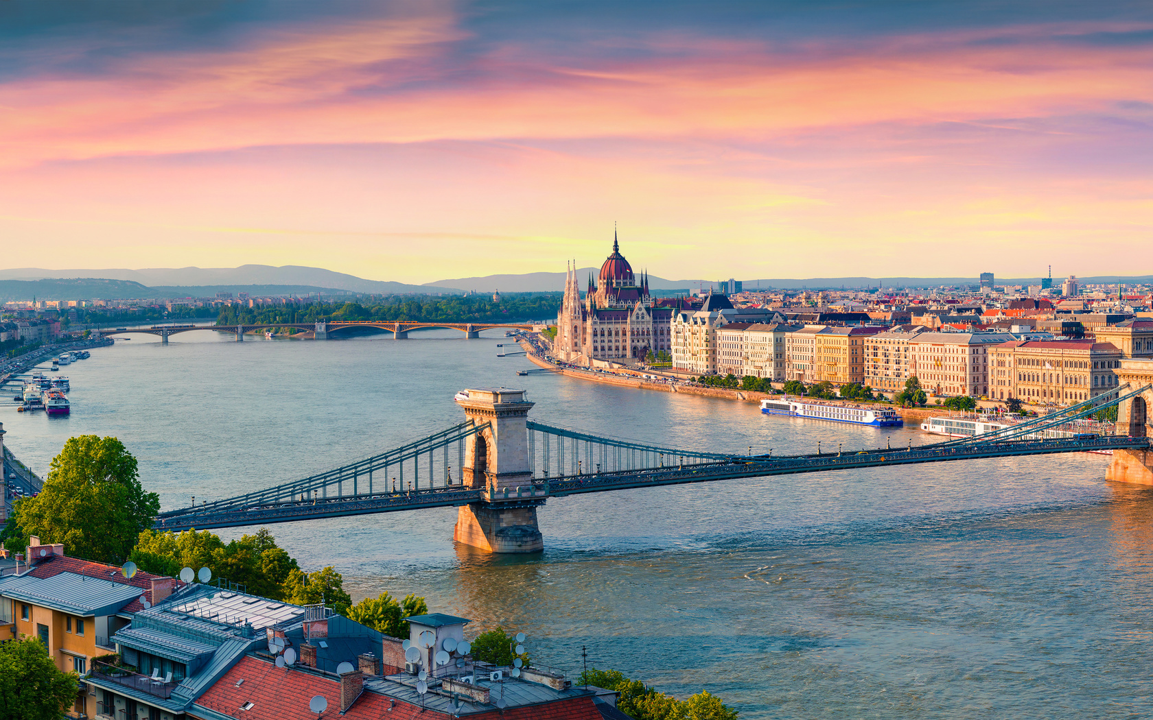 широкоформатные, панорама, мост, речные суда, будапешт, венгрия, danube, chain bridge, горизонт, сверху, город